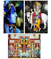 Radha, Krishna, Durga - Set of 3 Posters