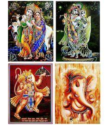 Radha Krishna,Ganesha and Hanuman - Set of 4 Glitter Posters