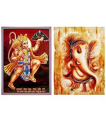 Ganesha and Hanuman - Set of 2 Glitter Posters