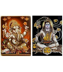 Shiva and Ganesha - Set of 2 Glitter Posters
