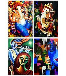 Ganesha, Krishna Meerabai and Radha Krishna - Set of 4 Posters