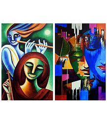Krishna Meerabai and Radha Krishna - Set of 2 Posters