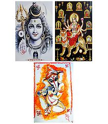 Lord Shiva, Navadurga, Ganesha - Set of 3 Posters