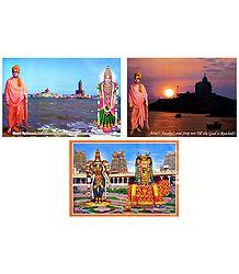 Vivekananda, Kanyakumari, Meenakshi and Sundareswarar - Set of 3 Laminated Posters