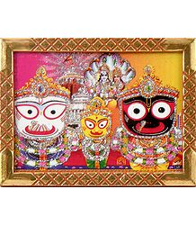 Jagannath, Balaram, Subhadra with Vishnu Lakshmi - Wall Hanging