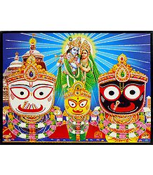Jagannath, Balaram, Subhadra with Radha Krishna - Wall Hanging