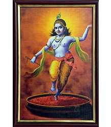 Krishna Dancing On Rose Petals - Print on Harboard - Wall Hanging