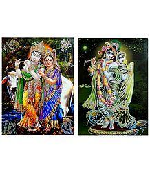 Radha Krishna - Set of 2 Glitter Posters