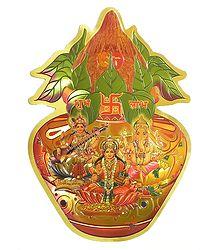 Lakshmi, Saraswati and Ganesha on Kalash
