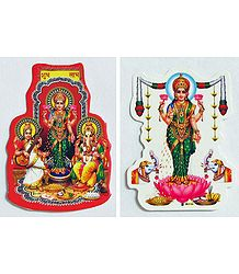 Lakshmi, Saraswati and Ganesha - Set of Two Stickers