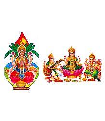 Lakshmi, Saraswati, Ganesha Sticker