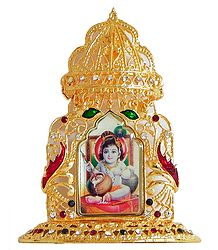 Makhan Chor Krishna on Golden Throne Metal Frame
