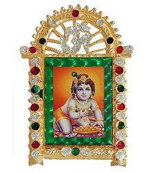 Bal Gopal on Stone Studded and Golden Carved Metal Frame