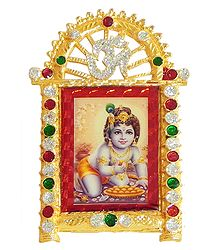 Krishna on Stone Studded and Golden Carved Metal Frame