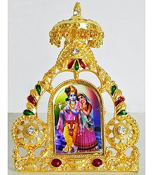 Radha Krishna - Metal Framed Table Top Picture