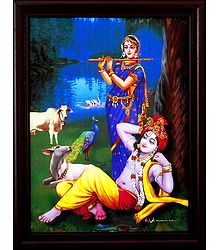 Krishna Enjoying Radha's Flute