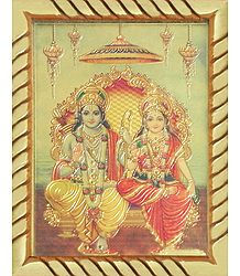 Lord Rama and Sita - Framed Table Top Picture