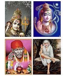 Lord Shiva and Shirdi Saibaba - Set of 4 Posters
