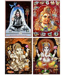 Shiva and Ganesha - Set of 4 Glitter Posters