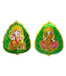 Lakshmi Ganesha on Pipul Leaf - Set of 2 Stickers