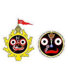 Jagannath, Balaram, Subhadra and Face of Jagannathdev - Set of 2 Stickers