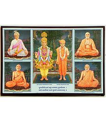 Swaminarayan and His Four Disciples - Framed Poster