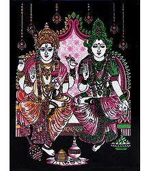 Vishnu,Lakshmi - Glitter Picture on Cardboard