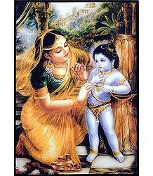 Yashoda and Krishna - Laminated Table Top