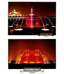 Fountain in Akshardham Temple, New Delhi - 2 Small Posters