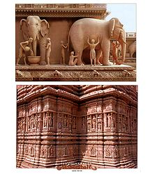 Wall Sculpture at Akshardham Temple, New Delhi - 2 Small Posters