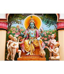 Lord Vishnu with Char Kumar - Photographic Print