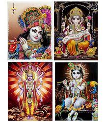Krishna,Ganesha,Vishnu, Krishna - Set of 4 Glitter Poster