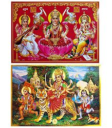 Vaishno Devi and Lakshmi, Saraswati and Ganesha - Set of 2 Posters