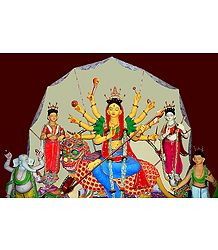 Buddhist Style Devi Durga with Her Family