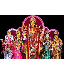 Devi Durga with Her Family in Bengal Pata Style
