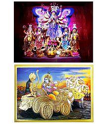 Gita Updesh By Krishna To Arjuna and Devi Durga - Set of 2 Posters
