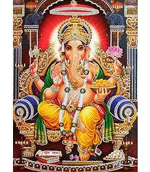 Ganesha Sitting on Throne - Glitter Poster
