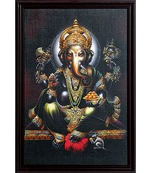 Sitting Lord Ganesha Picture on Laminated Board