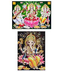 Lakshmi,Saraswati and Ganesha - Set of 2 Glitter Posters