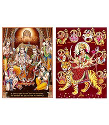 Ram Darbar and Navadurga - Set of 2 Glitter Posters
