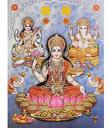 Lakshmi, Saraswati and Ganesha - GlitterPoster