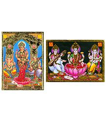 Lakshmi, Saraswati and Ganesha - Set of 2 Posters