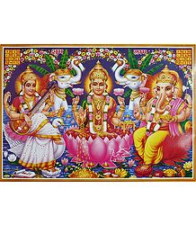 Lakshmi, Saraswati and Ganesha