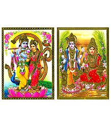 Radha Krishna and Vishnu Lakshmi - Set of 2 Posters