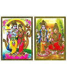 Radha Krishna and Vishnu Lakshmi - Set of 2 Posters