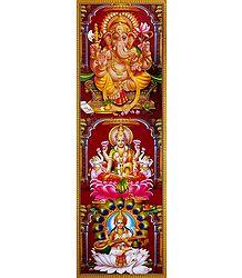 Lakshmi, Saraswati and Ganesha - Poster