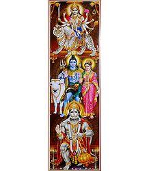 Durga, Shiva Parvati and Hanuman