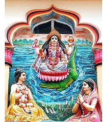 Ganga Descends from Heaven after being Propitiated by Bhagirath