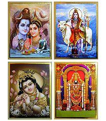 Shiva Parvati,Young Krishna, Balaji - Set of 4 Posters