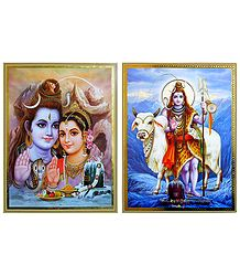 Shiva Parvati, Shiva with Bull - Set of 2 Posters